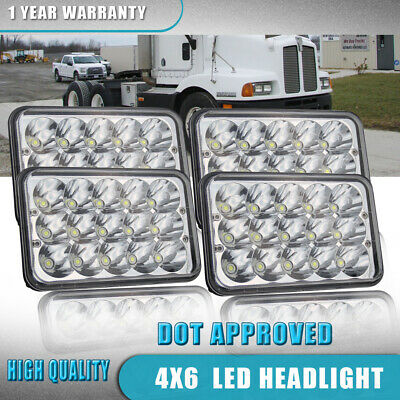 """DOT 4x6"""" inch LED Headlights HID Replace H4668/4651 High/Low Beam 45W-Qty 4"""