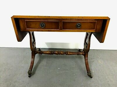Small yew wood reproduction sofa - side table with 2 drawers #2274