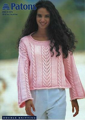 "PA2076C LADIES DK LACE & CABLE SWEATER KNITTING PATTERN 30-42""/76-107cm"