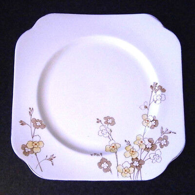 VINTAGE 1930s ART DECO COLCLOUGH ENGLISH CHINA 22.5CM SQUARE CAKE PLATE