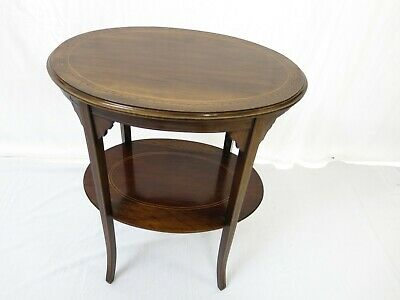 Antique mahogany inlaid 2 tier occasional - side table #2287L