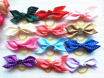 30pcs Dot ribbon bow with rubber band Pet Cat Dog Hair Bows Grooming Accessories