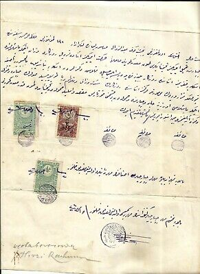 Turkey,greece :1917 Document Concerning A Shipwreck During Wwi, With  3 .fiscals