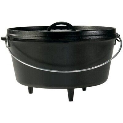 2 Qt Dutch Oven Pot Cast Iron Lodge Camp Camping Cooking Griddle Classic Black