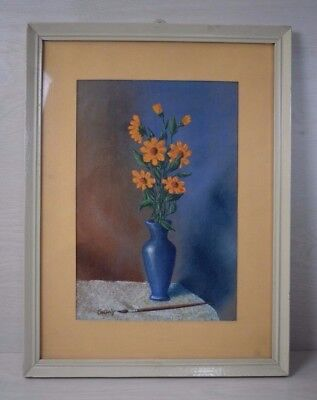 Vintage Collectible Hand Painted Painting of Flowers in Vase Signed Framed Retro
