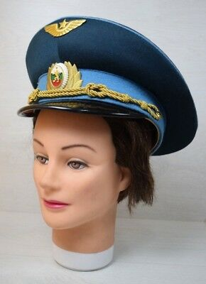 Vintage USSR Soviet Bulgarian Military Officer Hat Cap With Rank Badge Blue