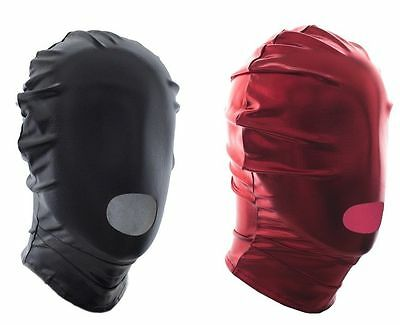 Spandex With Latex Full Head Hood Mask Open mouth Fold Mask