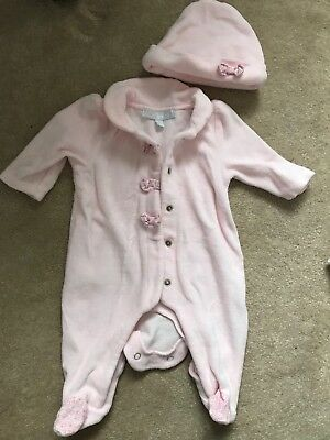 zip zap velour baby pink babygrow and hat age up to 1 month