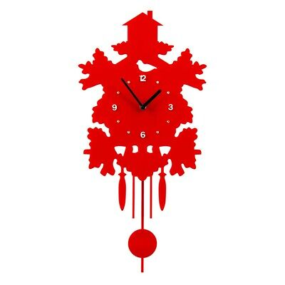 House Design Red Country Style Traditional Plastic Pendulum Wall Clock