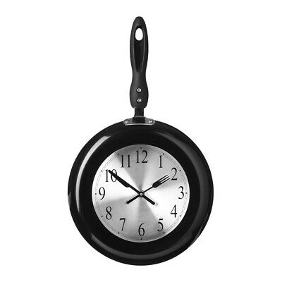 Frying Pan Design Black Knife and Forks Handles Kitchen Wall Clock