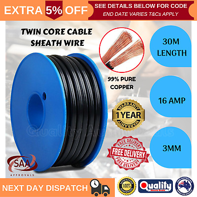 Automotive Twin Core Wire 30M 3MM 2 Sheath Electrical Cable SAA 12V Caravan 4X4