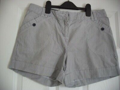 Marks & Spencers Ladies Grey Striped Shorts - Size 14
