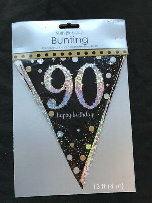 90th Birthday Pennant Flag Banner Black Silver Gold Party Decorations Age 90