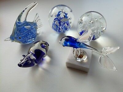 5 Crystal blue Glass Ornament Paperweight. Crystal Animal. Fish. Joblot.