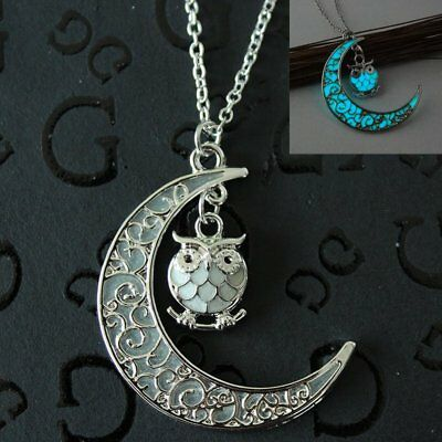 Punk Magic Fairy Locket Glow In The Dark Owl Moon Pendant Necklace Jewelry Women