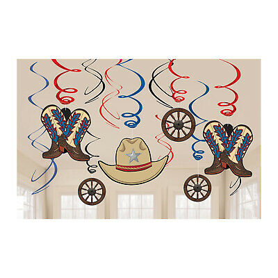 FREE POST IN UK WILD WEST 3 DANGLING CUTOUT DECORATIONS PARTY WESTERN LASSO