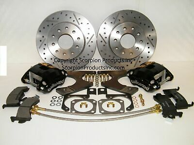 WILWOOD GM G-BODY Rear Disc Brake Conversion Kit Drilled & Slotted Rotors  Black