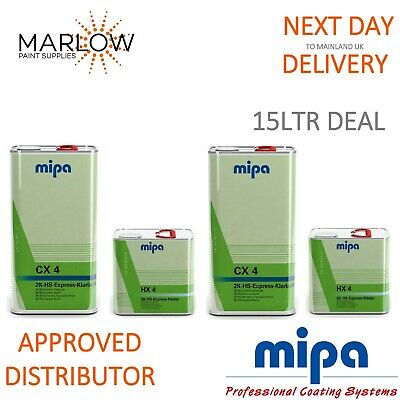 2 X Mipa Cx 4 Express Klarlack Clearcoat Lacquer With Hx 4 Hardener - 7.5Ltr Kit