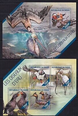 Niger 2014 Water birds Feathered Pelican Duck Fish Fauna Nature stamps MNH** Ai