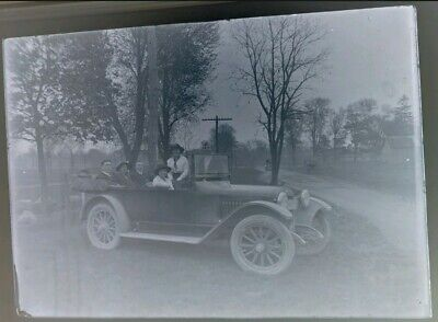 Group of Men & Women in Automobile Car Convertible Glass Plate Negative Photo