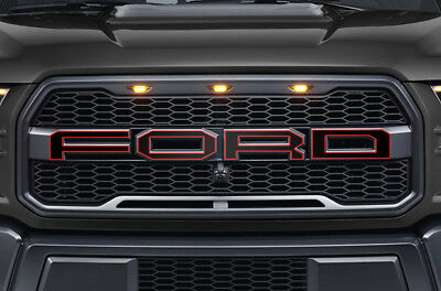 Ford F150 SVT Raptor Grille Insert Graphics Stickers Decals 2015-2018 Red Black