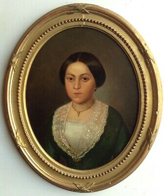 Antique Oil Painting 19th Century Portrait of a Fine young Lady Oval Oil on wood