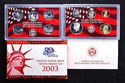 2003 United States Mint Silver 10 Coin Complete Proof Set w/Box & COA