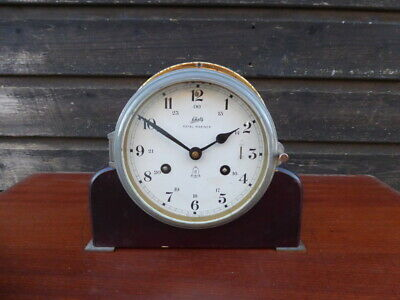 Quality Schatz 8 Day Royal Mariner Brass Bulkhead Ships Clock With Stand And Key