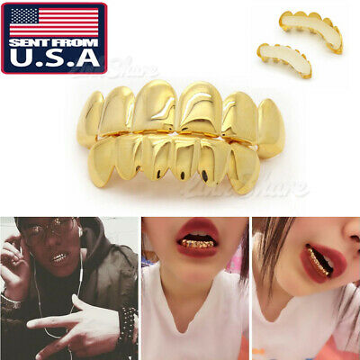 USA 18K Gold Plated Hip Hop Teeth Grillz Mouth Top / Bottom Teeth Grills Set ov