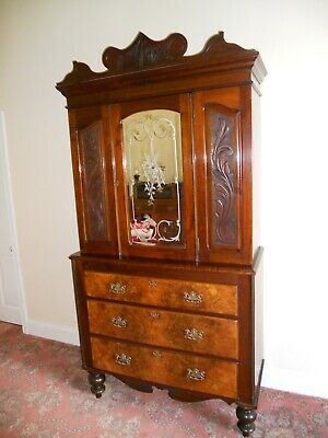 Antique Mahogany/Walnut Linen Press
