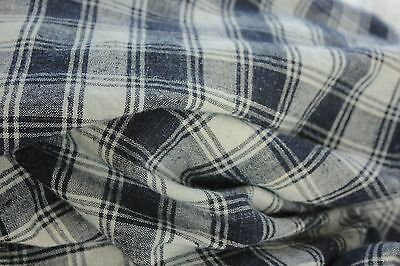 Duvet Antique French Comforter cover KELSCH BLUE indigo linen hand woven check