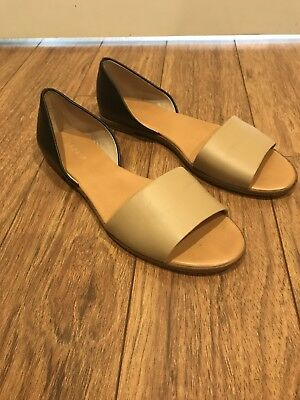 7d722e0d9ff J.CREW FACTORY Colorblock Peeptoe D Orsay Flat in Black   Tan Size 9
