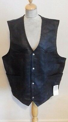 OSX Biker all leather  WAISTCOAT size 5XL chest 52 black new with tags