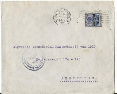 Belgium 1917 Germany Occupation Civil Post Emmerich Censor To Amsterdam
