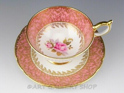 Aynsley England #2539 ROSE CENTER CORAL PINK & GOLD GILDED TEA CUP AND SAUCER