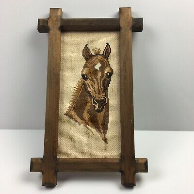 Vintage Framed Horse Cross Stitch Wall Art Needelpoint