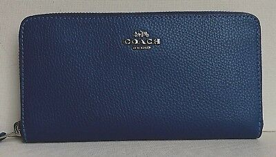 New Coach 16612 Accordion Zip Pebbled Leather wallet Atlantic