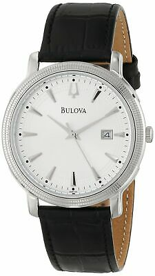 New Bulova Men's 96B120 Silver Dial Black Leather Strap Watch