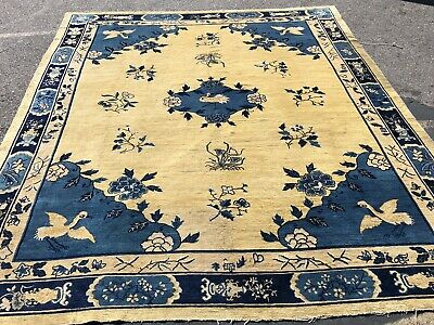 Auth: 19th C Antique Chinese Peking Rug Animated Art Deco Golden Beauty 9x12 NR