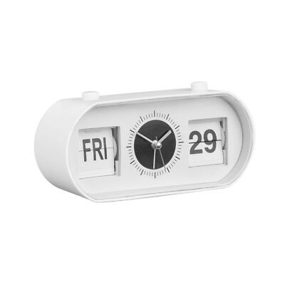 White Plastic Retro Style Alarm Flip Clock - Day Date and Time Bedroom Clock