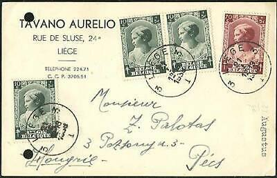 Belgium 1938 Commercial Postal Stationery Card Posted From Liege To Pecs Hungary