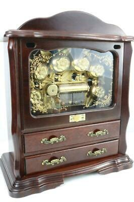 CYLINDER MUSIC BOX with 6 BELLS in-view PLAYS STRAUSS  HEAR It NOW! clock work