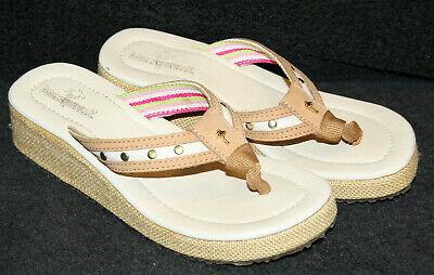 3cd6c8655 Margaritaville Women s KAIA Thong Flip Flop Wedge Sandals Size 6 EUR 37