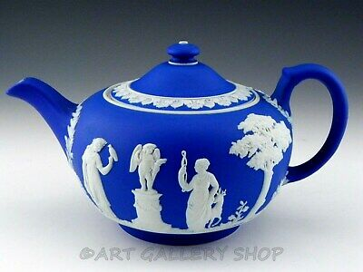 Antique Wedgwood England JASPERWARE DARK COBALT BLUE TEA POT TEAPOT with LID