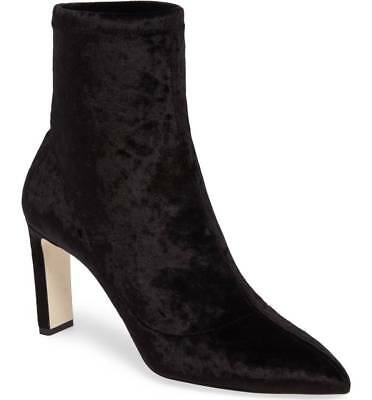1336010ad316 NIB  895 Jimmy Choo LOUELLA Stretch Black Velvet Bootie Block Heel Boot  9.5- 8.5