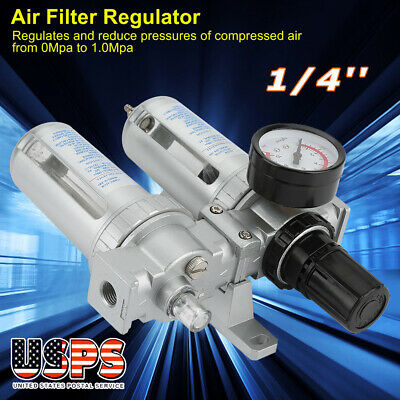 New 1/4'' Air Compressor Oil Water Regulator Filter Pressure Gauge Moisture Trap