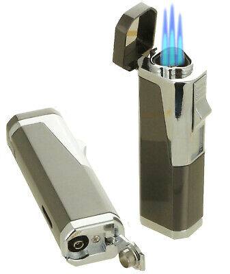 Triple Flame Cigar Torch Lighter with Cigar Punch Cutter Gun Metal Color
