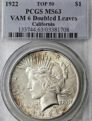 1922-P MS63 VAM-6 Doubled Leaves Peace Silver Dollar $1, PCGS Graded Top 50 VAM!