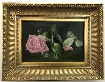 EMILY McGARY SELINGER Pink Roses Still Life Oil on Canvas Artist Signed Painting