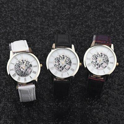 Automatic Trendy Men Male Leather Strap Mechanical Wrist Watch Big Round Dial V8